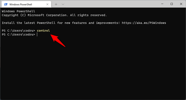 Using Windows 11's Terminal to open Control Panel