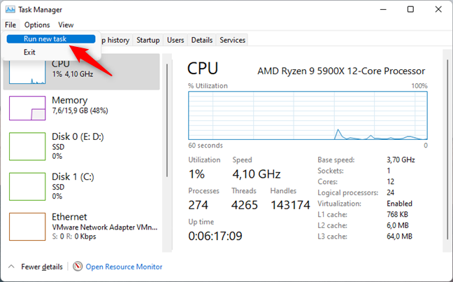 Run new task in Task Manager