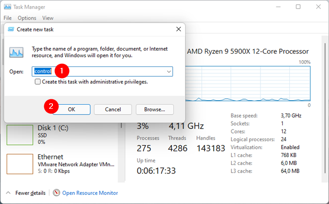 Opening Control Panel from the Task Manager