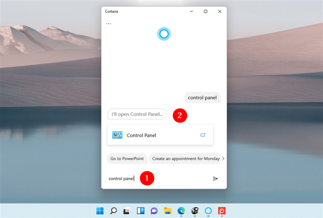 Asking Cortana to open Control Panel