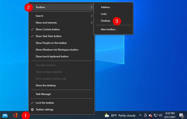 Adding the Desktop toolbar to the taskbar