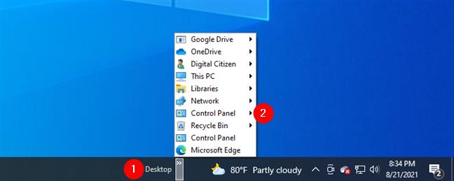 The Control Panel menu from the Desktop toolbar