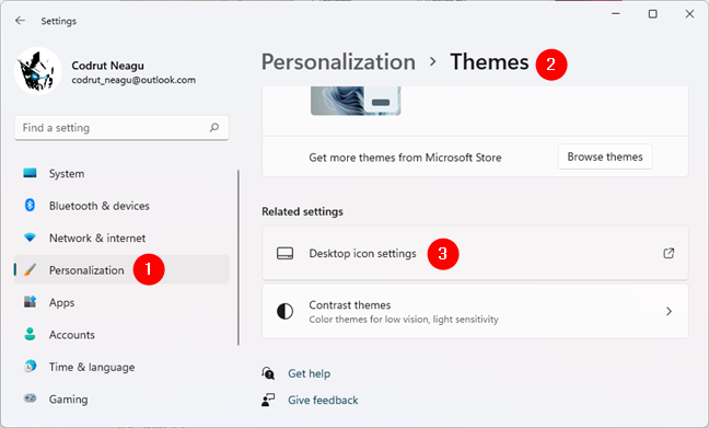 Getting to the Desktop icon settings
