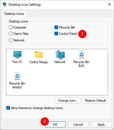 Adding a Control Panel shortcut using the Desktop Icon Settings