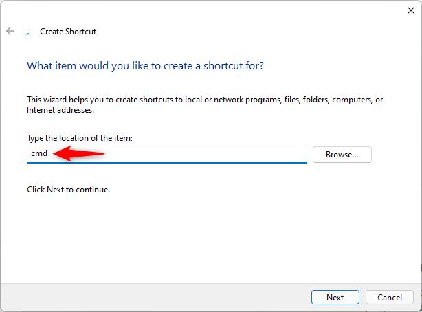 Create a Command Prompt shortcut