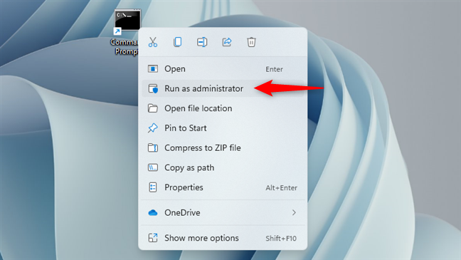 Run as administrator a Command Prompt shortcut