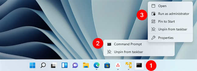 Run Command Prompt as administrator using its pinned shortcut