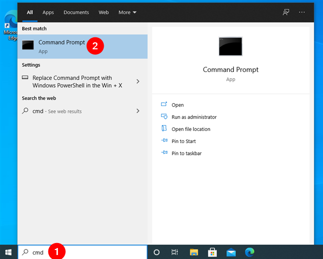 Search for cmd to open Command Prompt in Windows 10