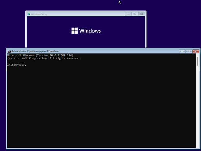 Press Shift + F10 to open Command Prompt when installing Windows