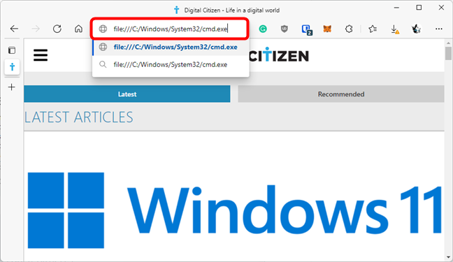 The URL for Command Prompt in Microsoft Edge