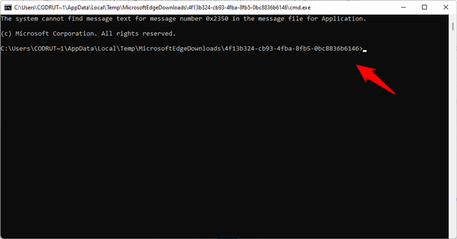 Command Prompt is opened in a temporary location