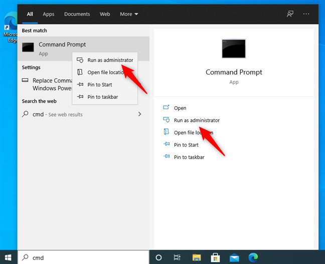 Run as administrator the Command Prompt in Windows 10