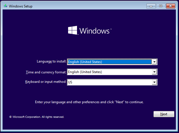 Windows 10 Setup - Choose the language, time, currency, and keyboard