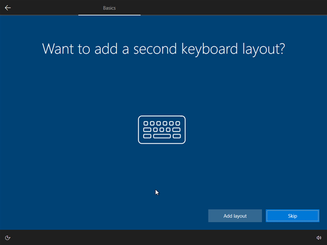 Choose whether to add a second keyboard layout.