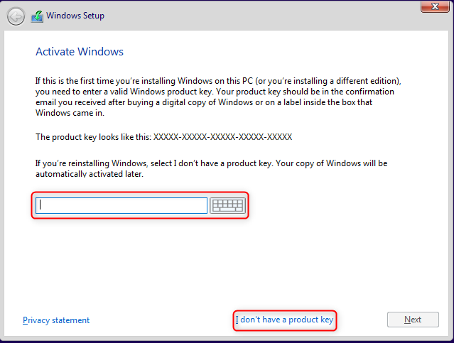 Enter the Windows 10 activation key