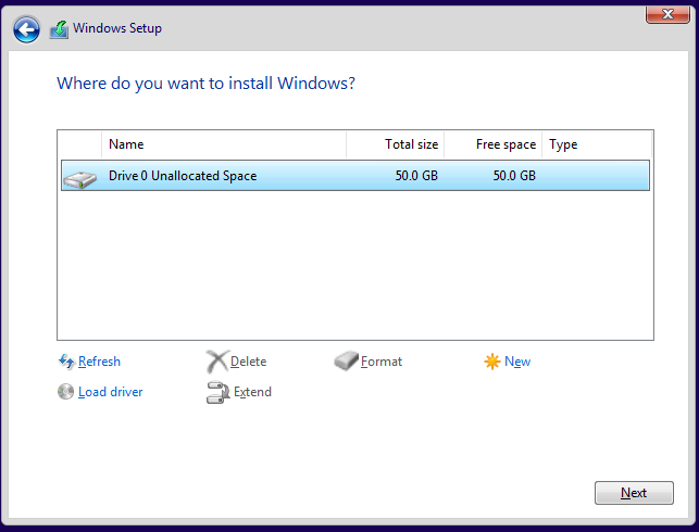 Choose the partition where to install Windows 10