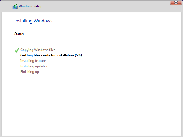Windows 10 is installing