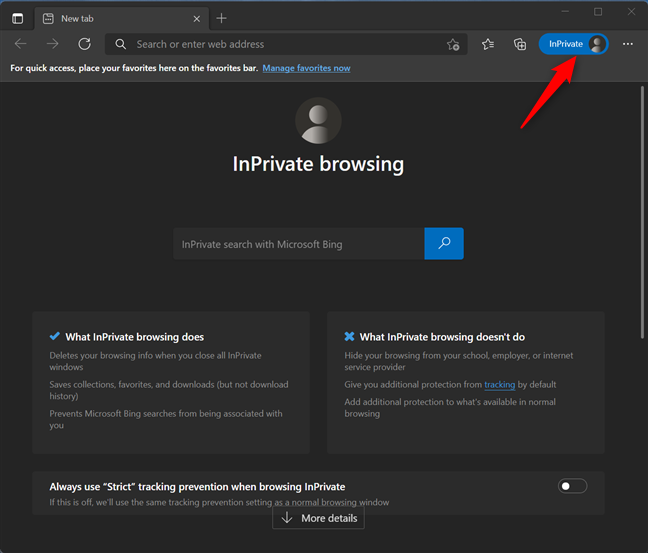 InPrivate browsing in Microsoft Edge