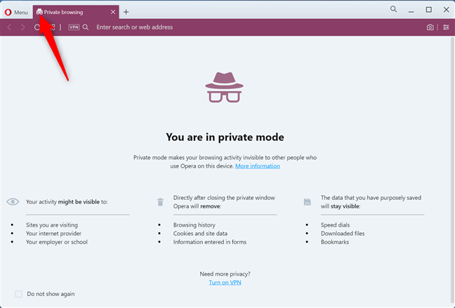 Private browsing in Opera