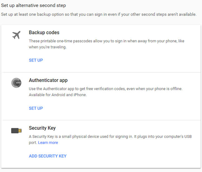 Alternatives for the second step in Google's 2-Step Verification