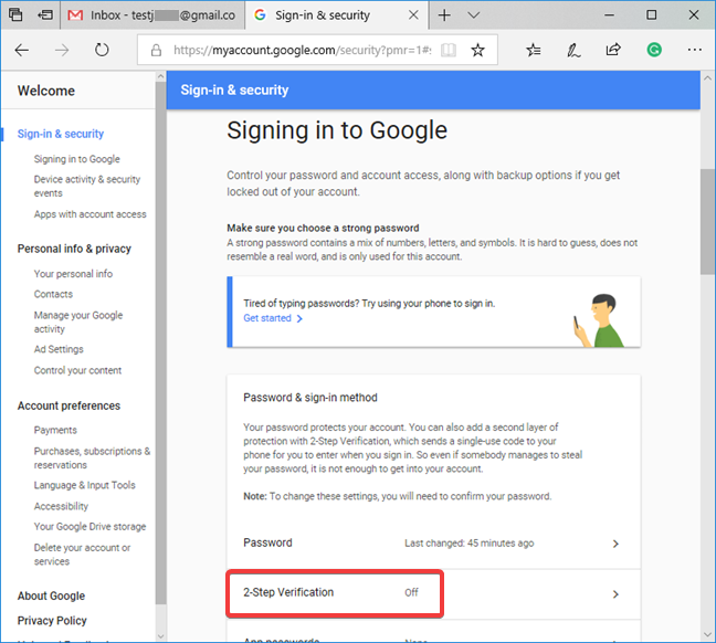 Google's 2-Step Verification is listed as turned off