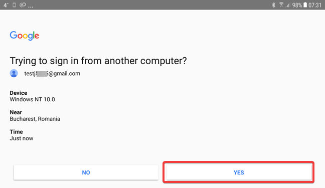 Validate the Google Prompt for 2-Step Verification