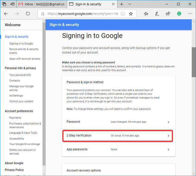 Access the 2-Step Verification settings for your Google account