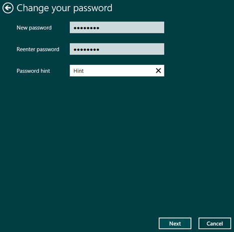 Windows 8.1, PC Settings, user, account, local, password, change