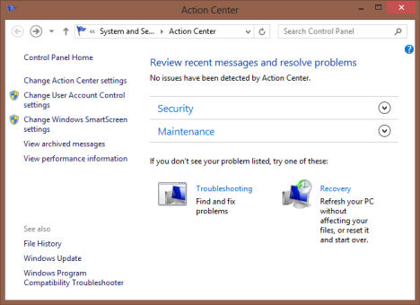 Action Center, Windows 8, Messages, Settings, Checks, Windows 8.1