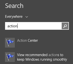 Action Center, Windows 8, Windows 8.1, security, checks, management