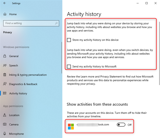 Disabling the activity history in Windows 10