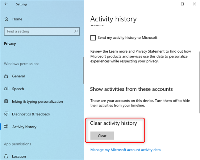 Clearing the activity history in Windows 10