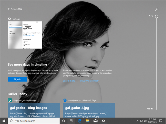 The Timeline displays your activity history in Windows 10