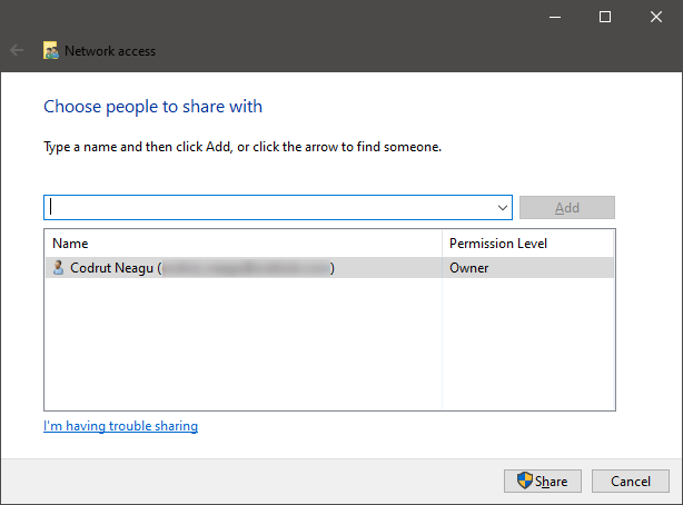 The sharing wizard from Windows