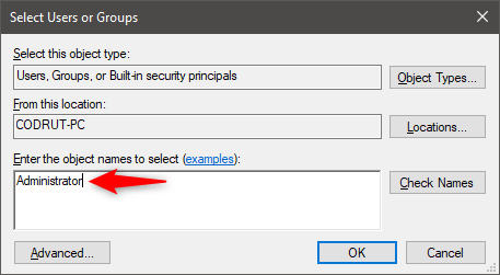 Entering the name of the user or group that get access to the shared folder