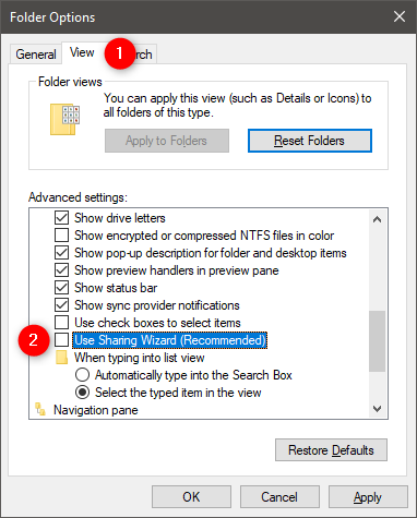 The Use Sharing Wizard (Recommended) setting in File Explorer