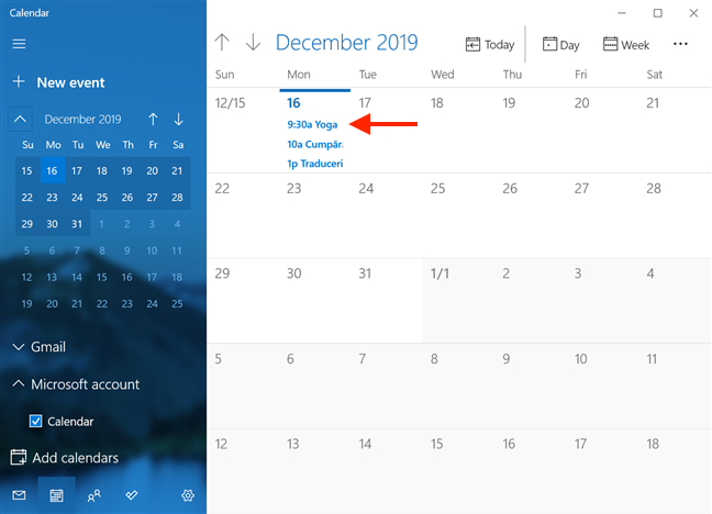 Clicking on an event from the Agenda may take you to the calendar for the current month