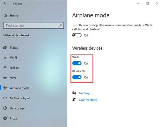 Enable or disable Wi-Fi and Bluetooth individually