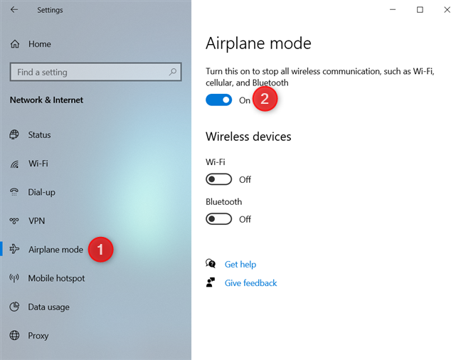 Turn the Airplane mode On or Off from Settings