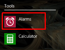 Windows 8.1, alarms, create, edit, turn off, delete
