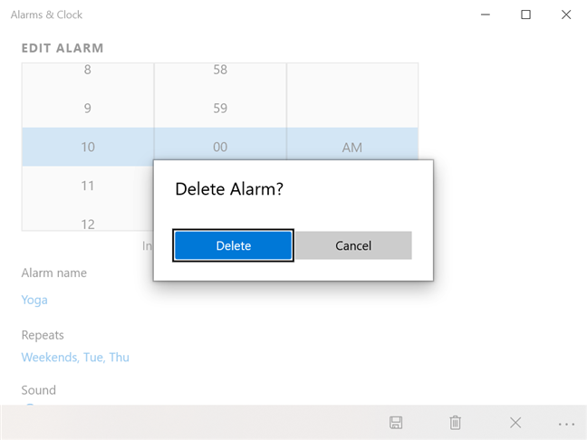 Press Delete to confirm the removal of the alarm