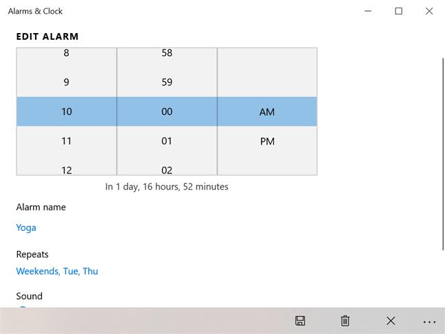 Edit your alarm in Alarms & Clock