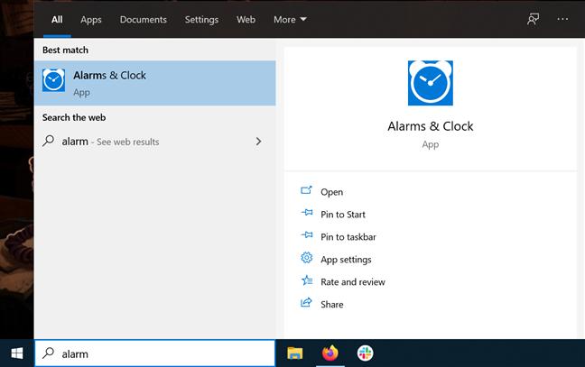 Open Alarms & Clock from the taskbar