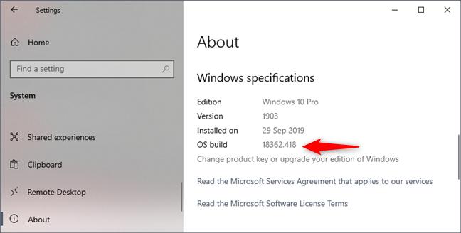 Windows 10 Pro, version 1903, build 18362.418