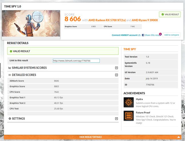 Benchmark result in 3DMark Time Spy