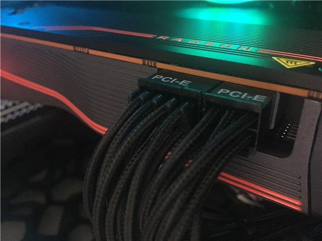 The additional power connectors on AMD Radeon RX 5700 XT