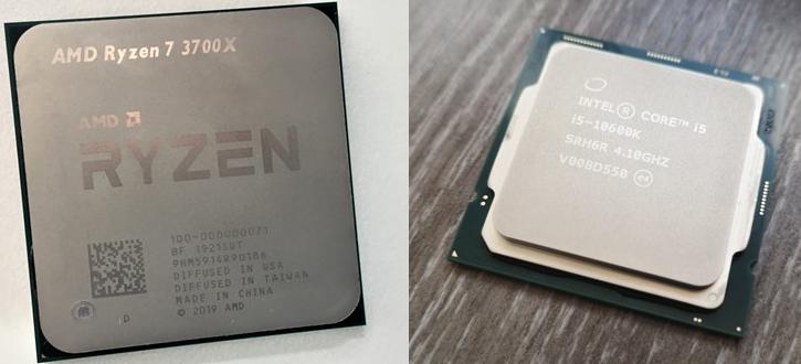 Una CPU Zen 2 AMD frente a un procesador INTEL Core de 10a generación