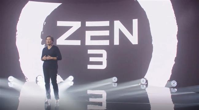 AMD's CEO, Lisa SU, starting the Zen 3 presentation