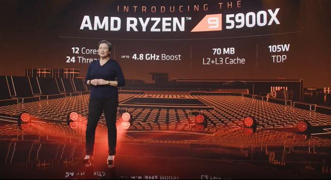 AMD's CEO, Lisa Su, introducing the AMD Ryzen 9 5900X