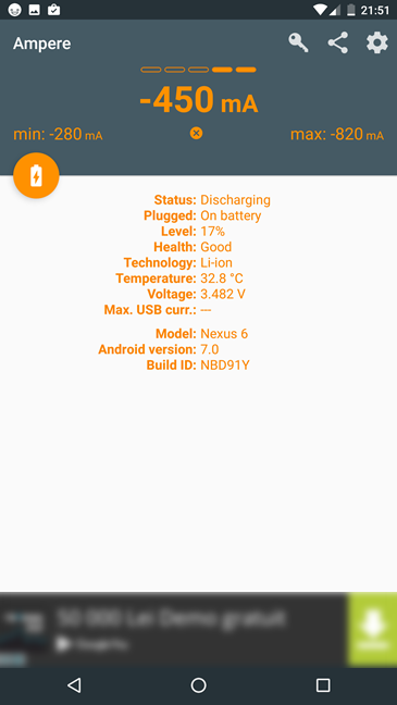 Ampere, Android, app, battery